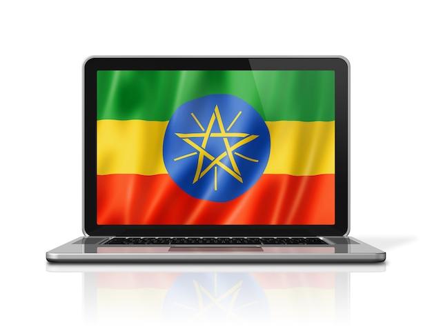 Bandiera dell'etiopia sullo schermo del laptop isolato su bianco. rendering di illustrazione 3d.