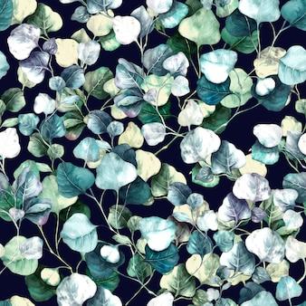 Rami di eucalipto acquerello floreale seamless pattern illustrazione