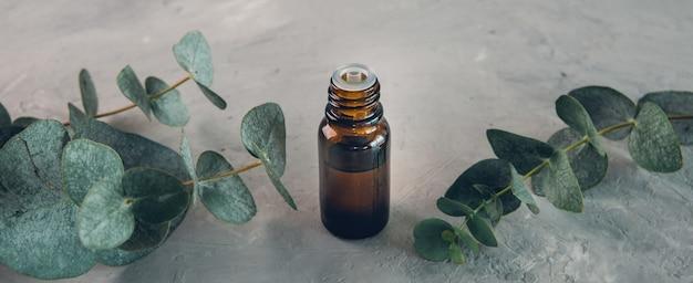 Olio essenziale di eucalipto e foglie fresche sulla tavola di pietra. bandiera.