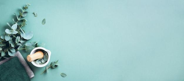 Foglie di eucalipto e mortaio bianco, pestello. ingredienti per la medicina alternativa
