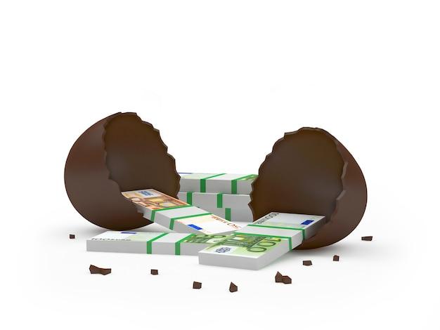 Banconote in euro in un uovo di cioccolato rotto