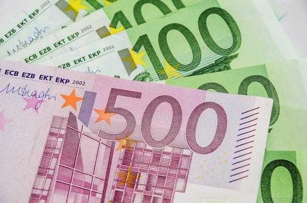 Banconote in euro da vicino