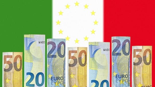 Le banconote in euro arrotolate in un tubo sullo sfondo della bandiera dell'italia
