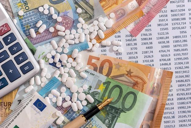 Banconote in euro con pillole e calcolatrice sull'estratto conto