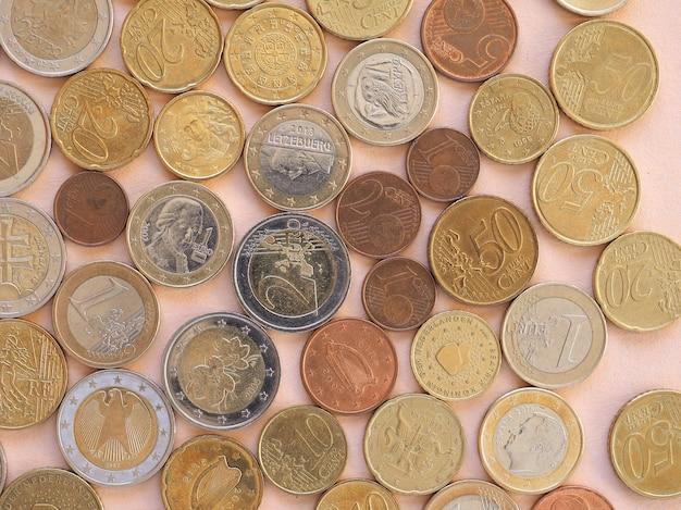 Monete in euro, sfondo dell'unione europea