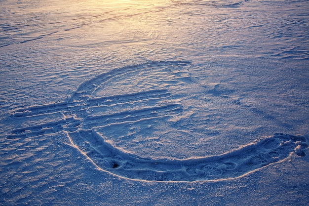 Icona di valuta euro disegnata sulla neve. tramonto sullo sfondo.