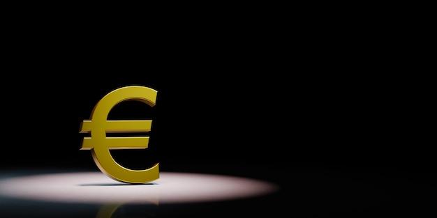 Euro forma di simbolo di valuta sotto i riflettori isolato