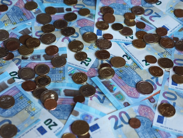 Banconote e monete in euro, unione europea