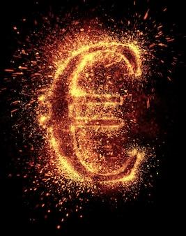 La scintilla del simbolo dell'euro è isolata sul nero