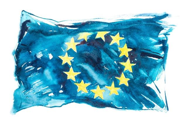 Europa, bandiera dell'unione europea. illustrazione dell'acquerello disegnato a mano.