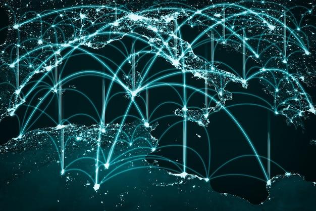 Connessione di rete europea che copre il continente con linee di percezione innovativa