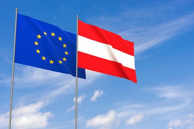 Bandiere dell'unione europea e dell'austria sopra il fondo del cielo blu. illustrazione 3d