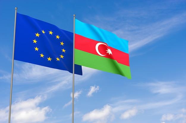 Bandiere dell'unione europea e dell'azerbaigian sopra il fondo del cielo blu. illustrazione 3d
