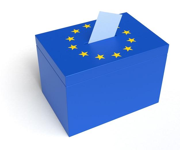 Urna dell'unione europea con bandiera dell'unione europea. isolato su sfondo bianco.