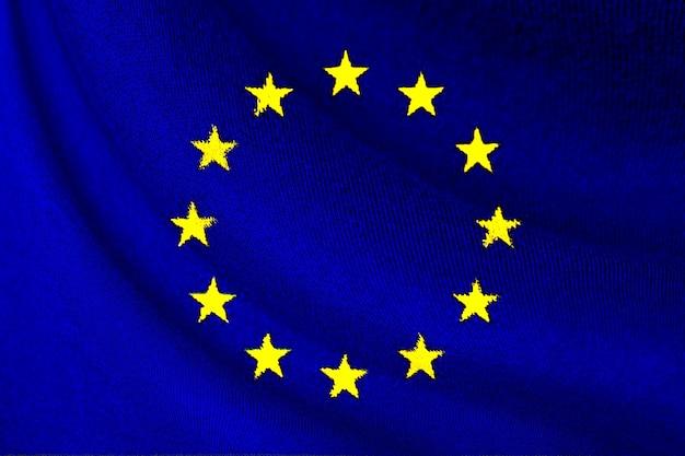 Bandiera dell'unione europea o dell'ue che sventola per lo sfondo e la trama, l'ue è un'azienda commerciale dei paesi europei.