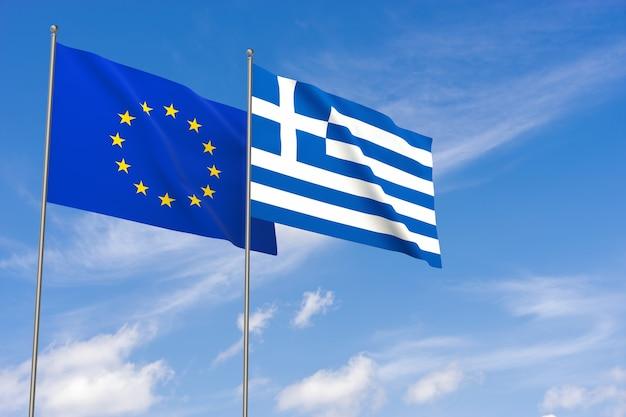 Bandiere dell'unione europea e della grecia sopra il fondo del cielo blu. illustrazione 3d