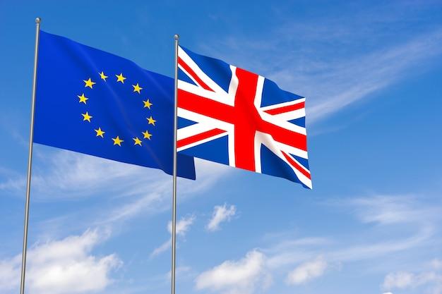 Bandiere dell'unione europea e del regno unito su sfondo blu cielo. illustrazione 3d