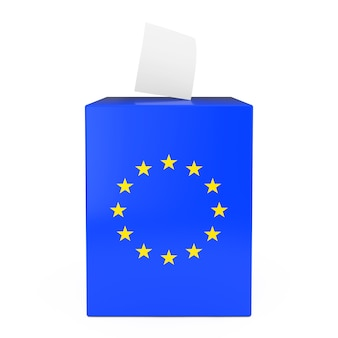 Concetto di voto dell'unione europea. la carta di voto cade nella casella di voto con la bandiera dell'unione europea su uno sfondo bianco 3d rendering