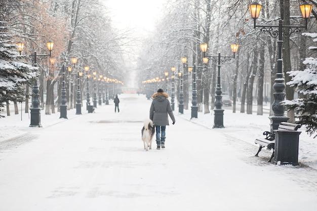 Donna europea che cammina con il cane alaskan malamute nella città invernale di sera