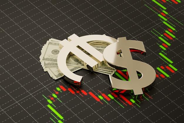 Simboli di trading del mercato forex di eurusd su denaro in dollari e grafico forex, rendering di illustrazioni 3d
