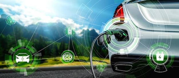 Stazione di ricarica ev per auto elettriche nel concetto di energia verde alternativa