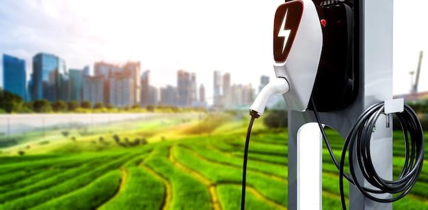 Stazione di ricarica ev per auto elettriche nel concetto di energia verde ed eco power