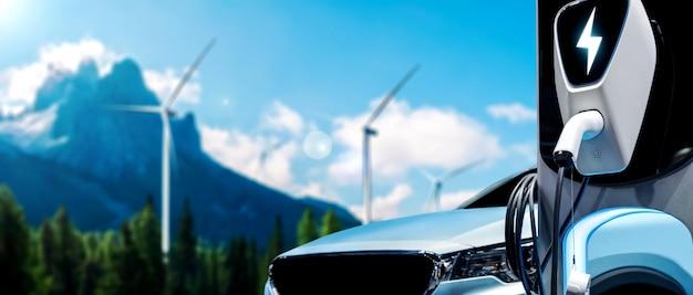 Stazione di ricarica per veicoli elettrici per auto elettriche nel concetto di energia sostenibile verde