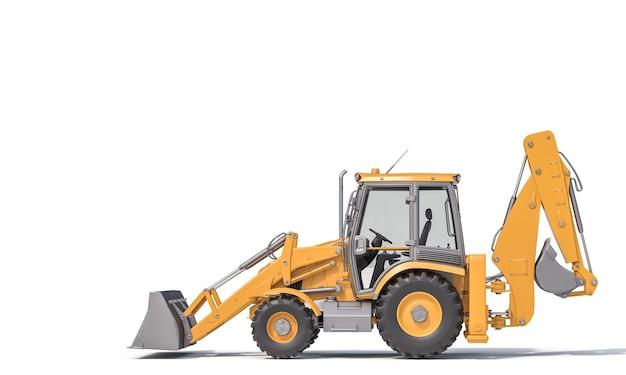 Raschietto per escavatore sulla superficie bianca. concetto di rendering 3d del settore edile