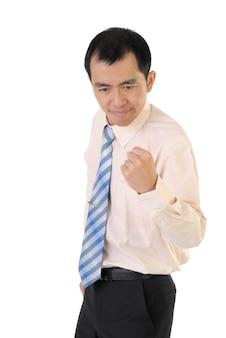 Uomo emozionante di affari, ritratto del primo piano contro su bianco.