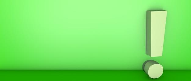 Punto esclamativo sul verde. illustrazione 3d
