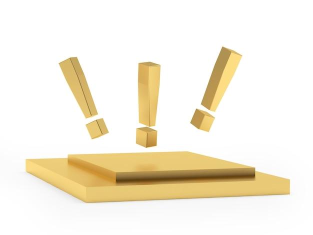 Punti esclamativi su un supporto d'oro
