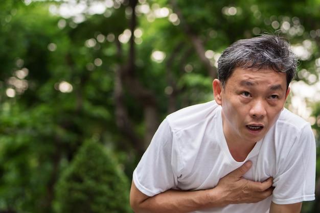 Arresto cardiaco ansimante esaurito che esegue parco all'aperto dell'uomo maggiore