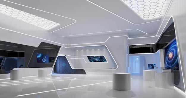 La sala espositiva con un senso di tecnologia
