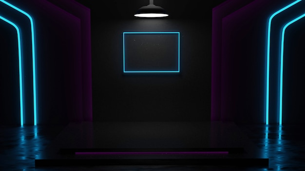 Sala espositiva con sfondo in marmo con rendering 3d al neon bianco, blu e rosa