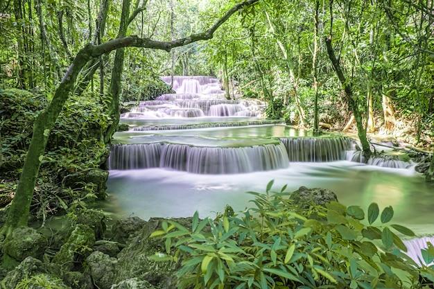 Esotiche belle cascate tropicali profonde della foresta pluviale fresche cascate turchesi nella foresta profonda