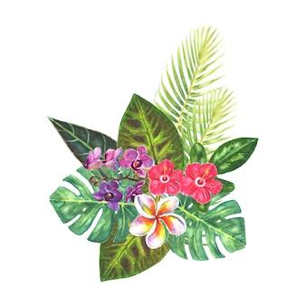 Bouquet esotico con fiori tropicali luminosi, foglie verdi, rami isolati su sfondo bianco. illustrazione classica botanica naturale disegnata a mano dell'acquerello per inviti di nozze, biglietti di auguri.