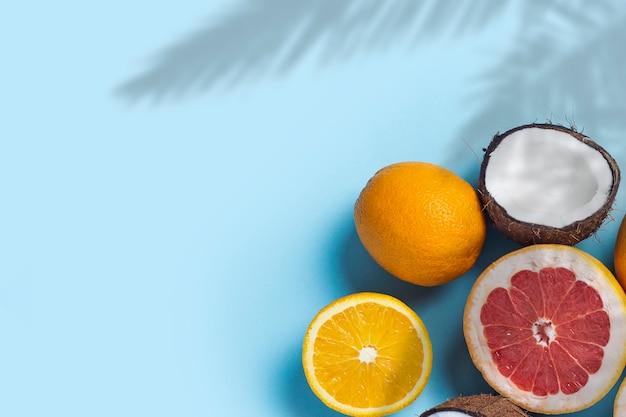 Frutti esotici su sfondo rosa blu. cocco, arancia, pompelmo.