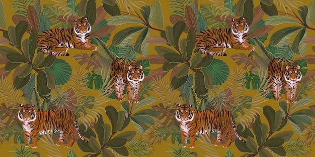Motivo tropicale esotico con foglie tropicali di tigri