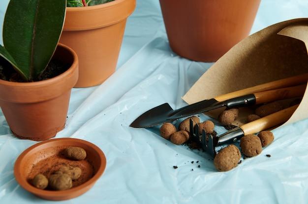 Argilla espansa in un vassoio di argilla con un set di attrezzi da giardino avvolti in carta artigianale sullo sfondo di vasi di terracotta con piante da interno