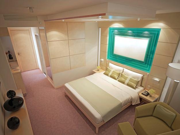 Interno costoso della camera da letto contemporanea. camera da letto di lusso, pareti con modanature piastrellate, pavimento in moquette a motivi rosa chiaro. rendering 3d