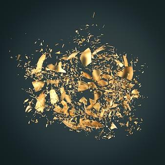 Esplosione di frammenti d'oro su fondo scuro. rendering 3d