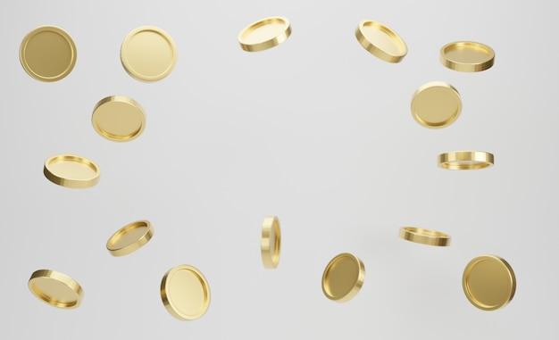 Esplosione di monete d'oro su sfondo bianco. jackpot o concetto di poke del casinò. rendering 3d.