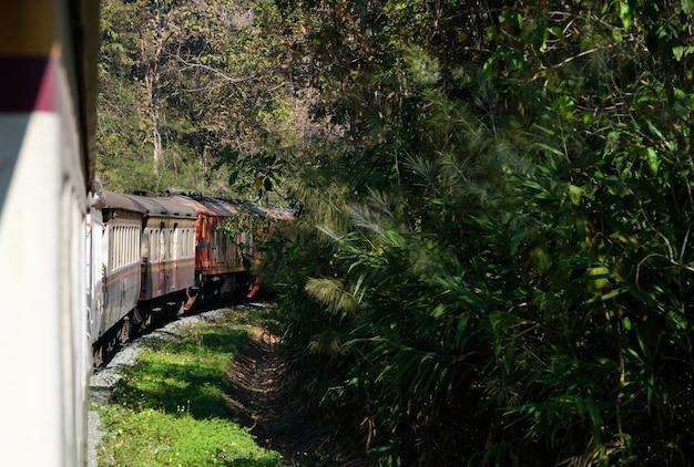 Il treno espresso sta andando in alta montagna con le molteplici locomotive diesel-elettriche attraverso il parco nazionale