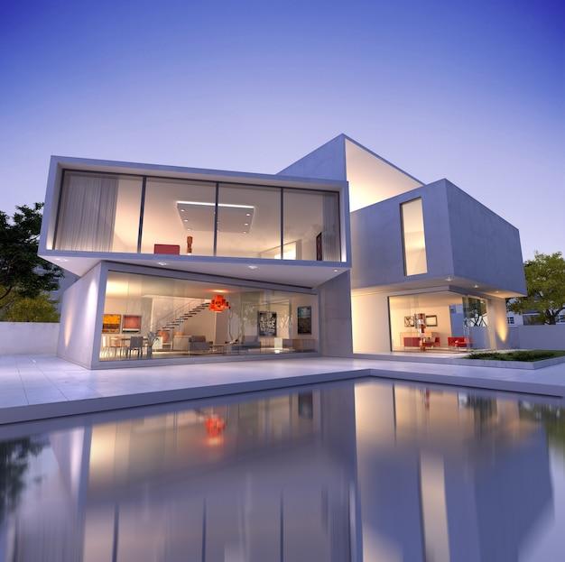Vista esterna di una casa contemporanea con piscina al tramonto