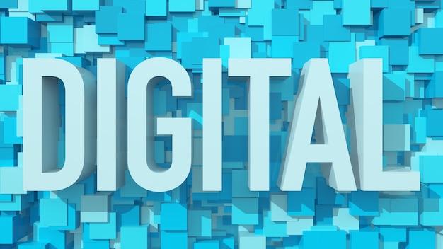 Testo digitale estruso con sfondo astratto blu pieno di cubi