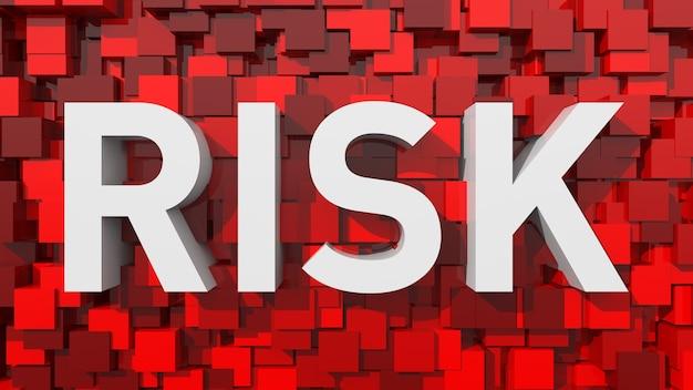 Testo di rischio estruso con sfondo astratto blu pieno di cubi