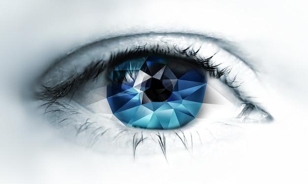 Primo piano dell'occhio con triangoli poligonali all'interno su uno sfondo chiaro
