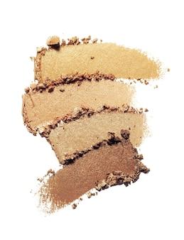 Ombretto scintillante opaco multi tavolozza colorata nude texture marrone isolato su sfondo bianco