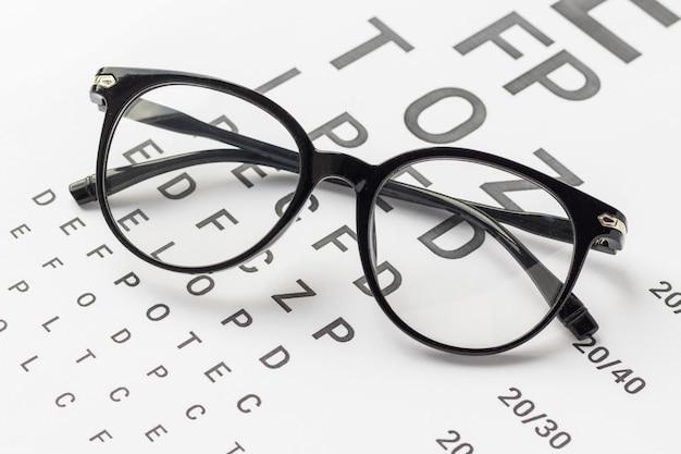 Occhiali da vista con montatura nera sul diagramma di prova visivo isolato su bianco. vista, sanità e concetto di medicina.