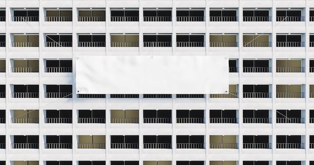 Facciata di un edificio pieno di balconi con un gigantesco striscione bianco appeso. rendering 3d